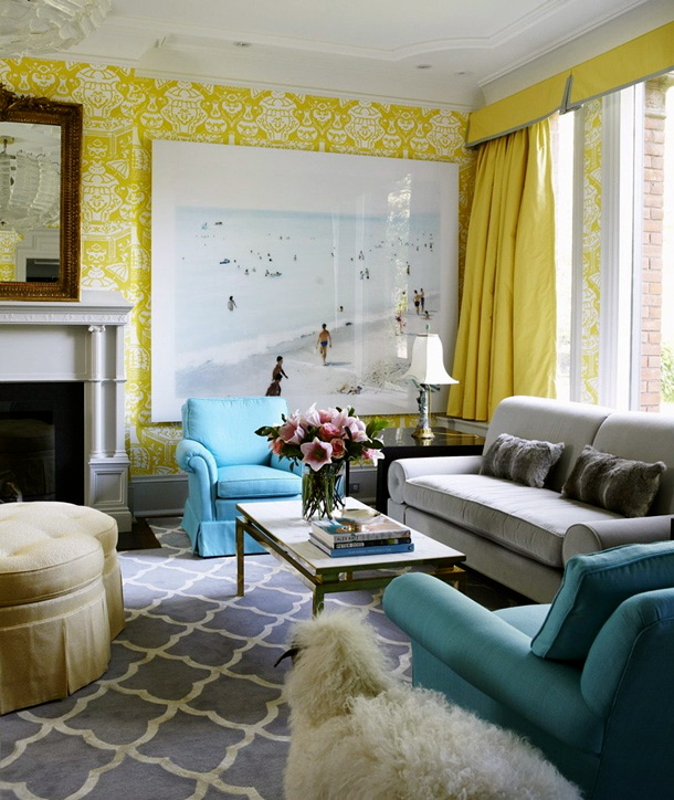 Aqua sofa on pinterest aqua sofas and chesterfield sofa for Living room ideas yellow and blue